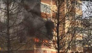 Пожар в высотке на Чичерина в Челябинске