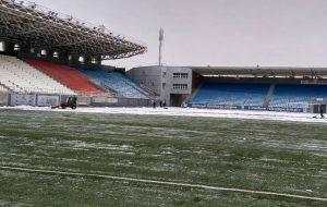 футбол и снегопад в Челябинске