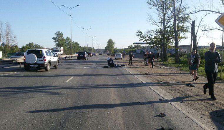 ДТП с мотоциклом и Мерседесом в Челябинске