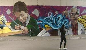 Граффити к 1 сентября в Челябинске