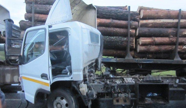 На трассе под Саткой грузовик налетел на лесовоз