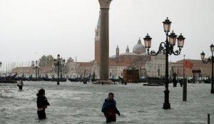 Из-за наводнения большая часть Венеции ушла под воду