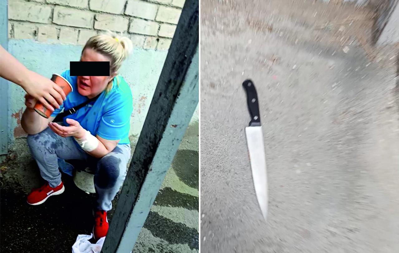 женщина с ножом напала на кассира кафе