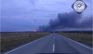 Сильный лесной пожар в Карталинском районе