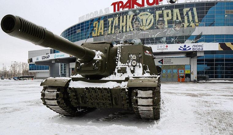 """Танки в городе. Военная техника появилась у арены """"Трактор"""""""