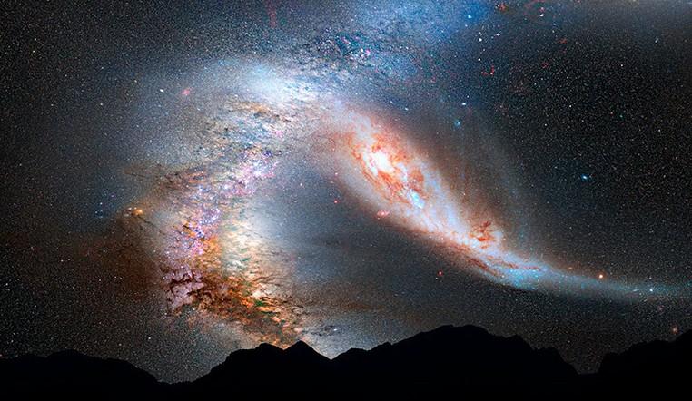 За миллионы световых лет. Астрономы запечатлели пару столкнувшихся галактик