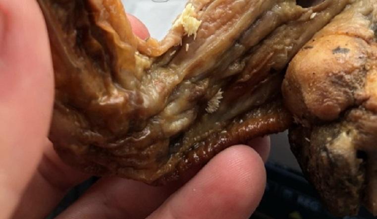 «Куры гниль». Южноуральцы купили в магазине крылья с личинками мух