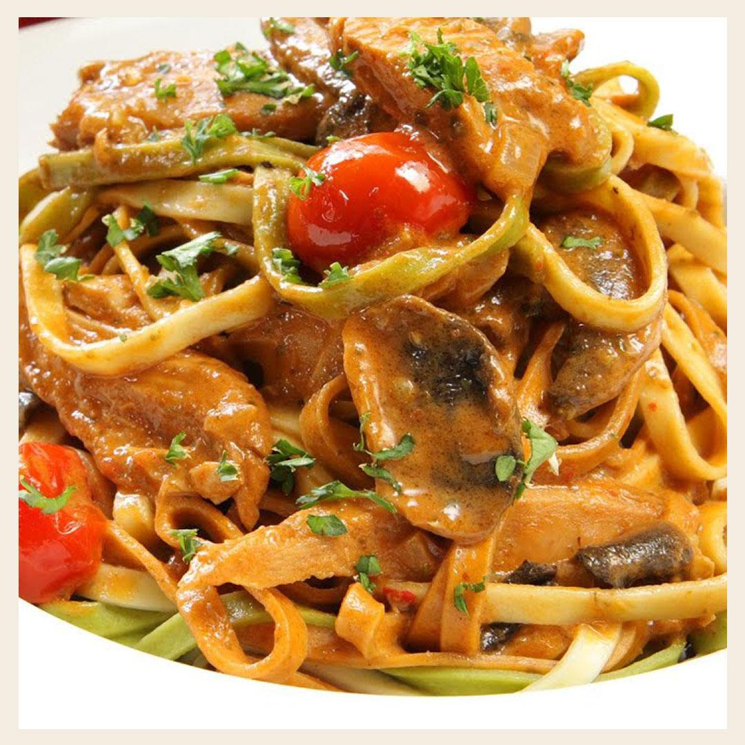 Что приготовить на ужин быстро и вкусно. Рецепт спагетти с грибами и свиной вырезкой