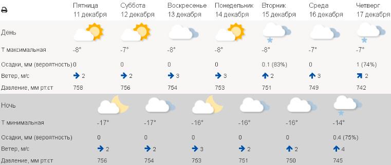 Погода в Челябинске в декабре