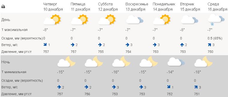 Погода в Челябинске на декабрь