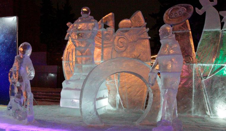 Космическая сказка. Губернатор и мэр посетили главный ледовый городок Челябинска