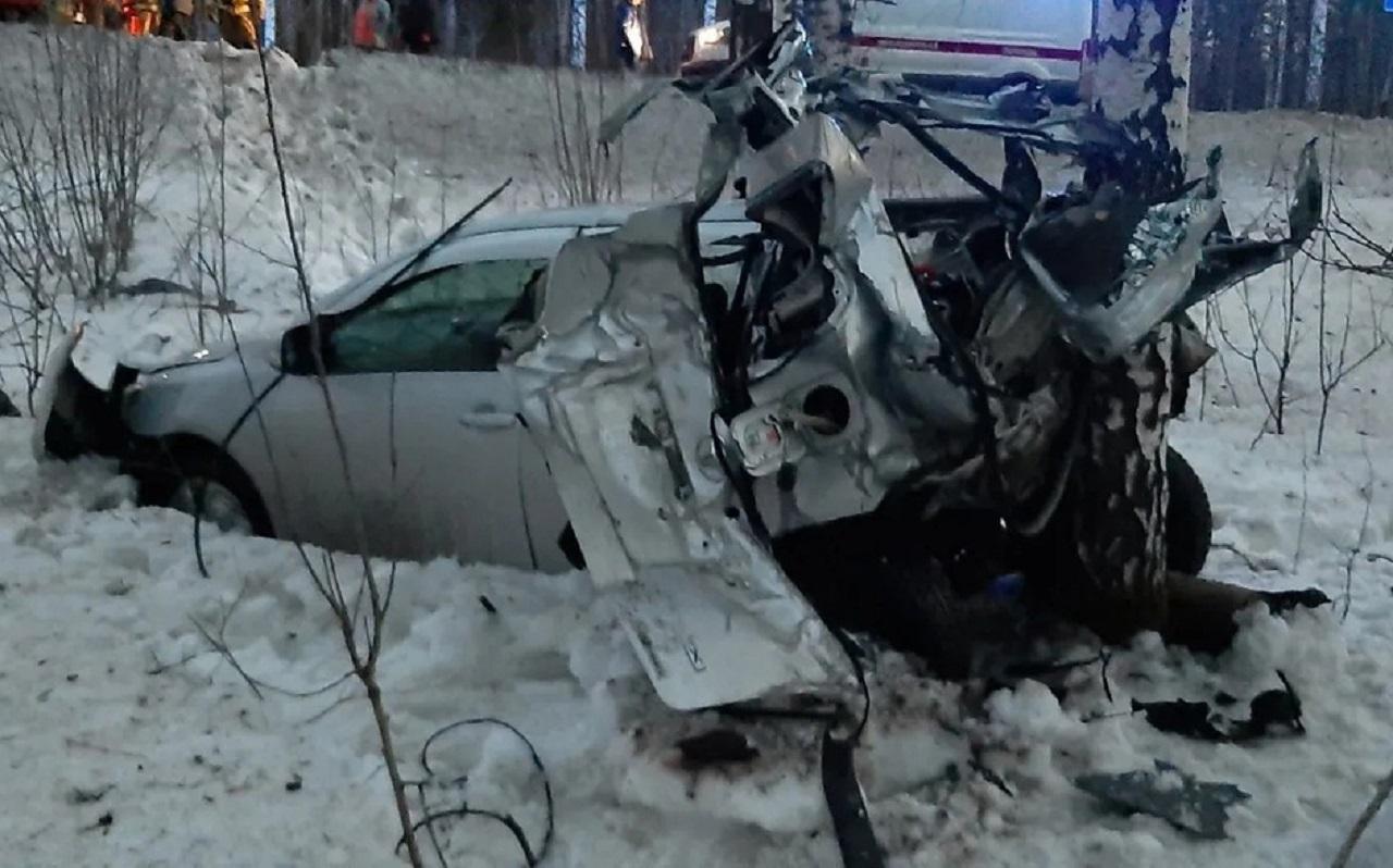 Жуткое ДТП: в Челябинской области машину впечатало в дерево