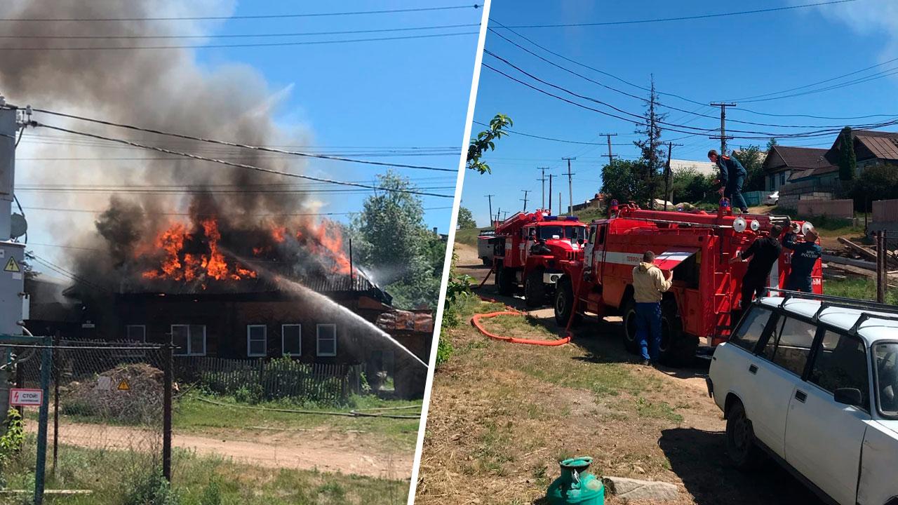 В Челябинской области загорелся жилой дом ВИДЕО