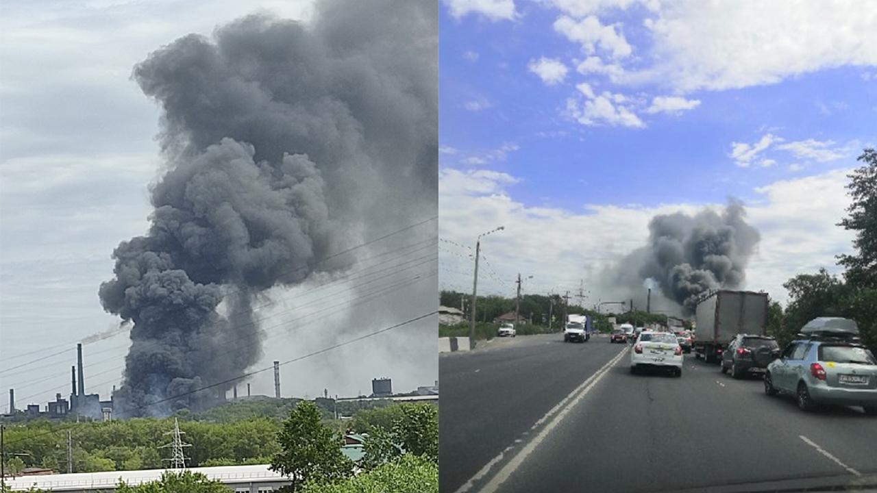 В Челябинске горит склад ЧЭМК, к месту ЧП едет пожарный поезд