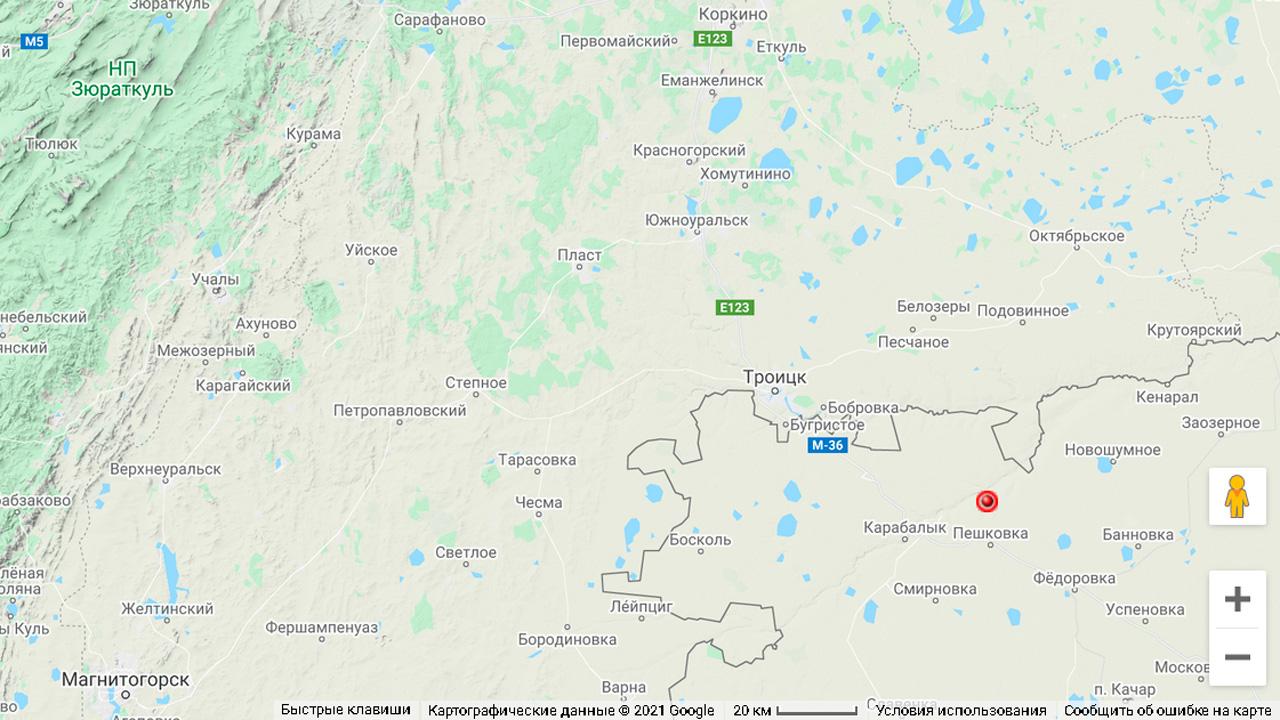 Землетрясение произошло на границе Челябинской области с Казахстаном