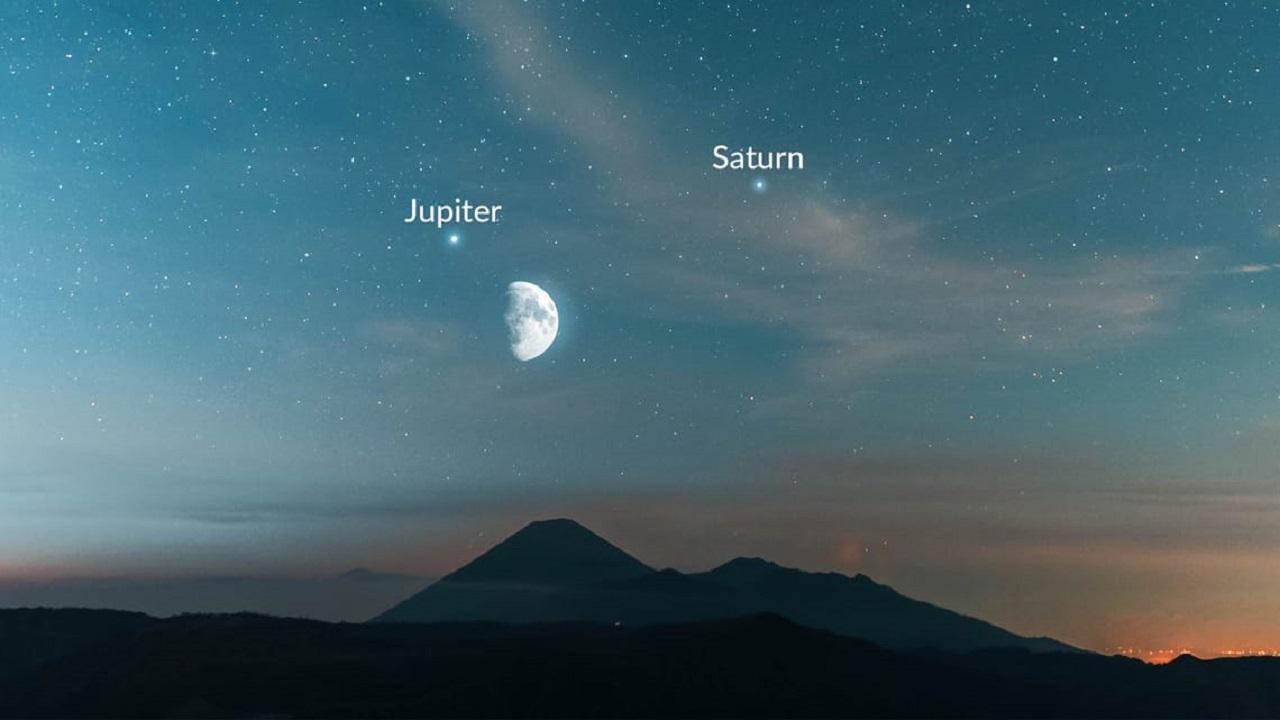 Парад планет 2021: Луна соединится с Юпитером и Сатурном